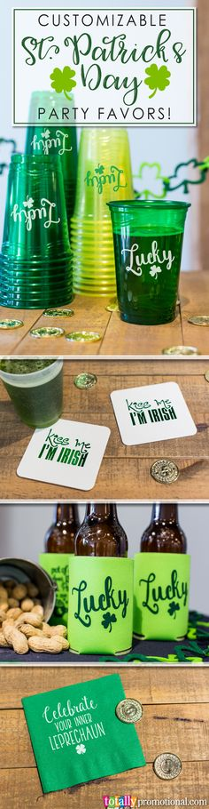 Order high-quality St. Patrick's Day party favors for your big event! Use clever Irish sayings or other designs to customize your koozies, cups, napkins, coasters & more to wow your guests! We have all the gifts and supplies you need for a fantastic GREEN St. Patrick's Day bash! #stpattysday
