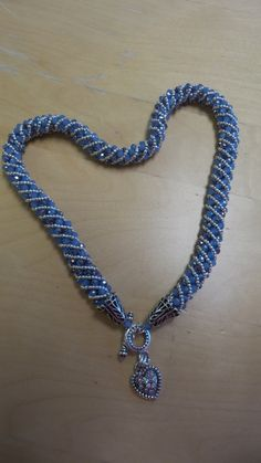 Blue and Silver Russian Spiral Necklace with Heart Charm