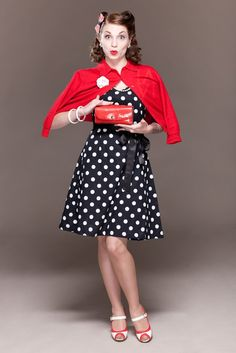Ruby Swing Dress in Black/White Polka Dots - Dismantled Fashions Rockabilly Pin Up Psychobilly. $64.95, via Etsy.
