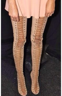 Strap Up Thigh High Boots - Boot Hto