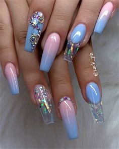 40 Fabulous Nail Designs That Are Totally in Season Right Now - pretty nail art designs,mix and match nail art design, acrylic nail art, nail designs with glitter Nail Art Designs, Acrylic Nail Designs, Nails Design, Nail Crystal Designs, Pretty Nail Designs, Summer Acrylic Nails, Best Acrylic Nails, Nail Swag, Fabulous Nails
