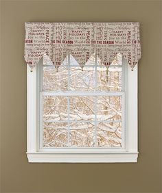 """This """"Tis the Season"""" valance can also be used as a decorative mantle scarf. Matching table linens, pillows, Christmas stockings, and table runners are all available @CountryPorchHomeDecor.com"""
