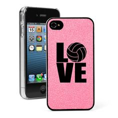 Light Pink Glitter Bling Apple iPhone 4 4S 4G Hard Case Cover G556 LOVE Volleyball on Etsy, $14.99
