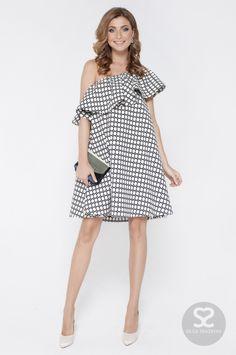 Стильное платье с воланом на одно плечо | Skazkina