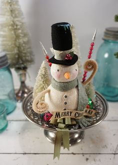 Christmas Decoration // Snowman // Vintage by CatandFiddlefolk