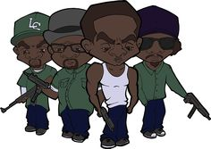 Next up is a callback to the days of GTA: San Andreas, depicting the Grove Street family big-head style. The well known and loved characters of the legendary game, Sweet, Big Smoke, CJ and Ryder appear in their signature green garb and toting a fierce arsenal.