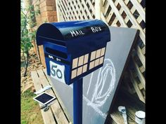 My mailbox makeover yay Dr Who Tardis . New Mailbox, Mailbox Ideas, Mailbox Makeover, Fantastic Show, Mobile Home, Dr Who, Tardis, Crafty, Snail Mail