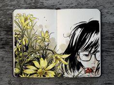 Los bocetos en la agenda de Gabriel Picolo, molan