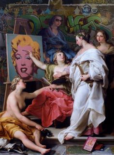 Renaissance & Pop Art Mashed Together by Marco Battaglini — 5 things I learned today Italian Painters, Italian Artist, Art Pop, Städel Museum, Die Renaissance, Tableaux Vivants, Street Art, New Media Art, Gentlemen Prefer Blondes