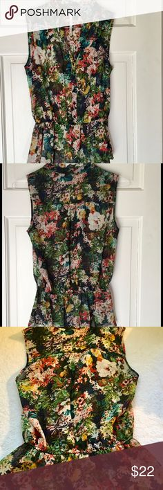 """BELLATRIX,SLEEVELESS TOP, SIZE Small BELLATRIX,SLEEVELESS TOP, SIZE Small Cute colorful top with shirred drop waist and ruffly bottom.  wear buttoned or unbuttoned.  EUC. ARMPIT TO ARMPIT 17"""" APPROX 23"""" Long 100% polyester.  Hand wash. Tops"""