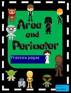 This is a set of Star Wars inspired area and perimeter practice pages.Each page has cute Star Wars inspired clip art, and the word problems are about various characters. The practice pages include:Find the perimeterFind the missing lengthDraw a shape with a given perimeterFind unknown side word problemsCalculate the area of a rectangleCalculate the area of combined rectangles (easy and challenging)Area and perimeter of a rectangle These pages were primarily designed for third grade geometry…