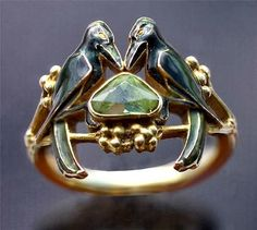 Ren_ Lalique 'The Betrothal -To Have & To Hold' Art Nouveau Ring.