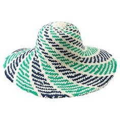 Aqua straw hat.Product: Sun hatConstruction Material: StrawColor: AquaFeatures: One size fits most    Cleaning and Care: Spot clean only