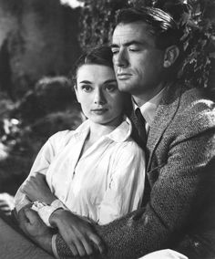 Audrey Hepburn with Gregory Peck on the set of Roman Holiday, 1953.