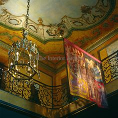 House of Windsor, Paris - In the entrance hall the trompe l'oeil sky of the…