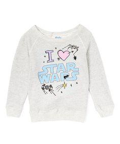 Another great find on #zulily! Stone Heather 'I Love Star Wars' Crewneck Sweatshirt - Girls #zulilyfinds