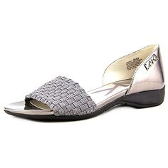 Anne Klein Sport Kea Women US 8 Gray Open Toe Flats >>> Learn more by visiting the affiliate link Amazon.com on image.