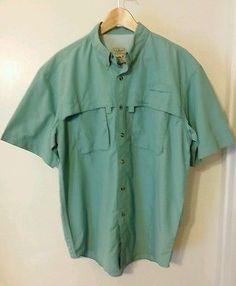 LL Bean Mens M Fly Fishing  Shirt MCS Blocker Tech UPF 40+ Technofine NEW green