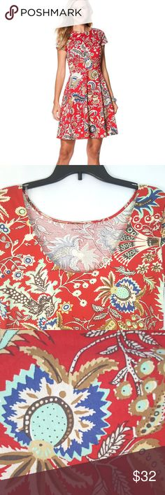 """Chaps Red Paisley Print Dress - Pink - L - Chaps Condition: New with tags  Size: Large  Materials: 100% Cotton (Stretch)  Chest: 17""""  Sleeve: 17""""  Length: 36""""  MSRP: $69.00  A floral paisley print adds charm to this flattering cotton jersey dress, while a deep scoop back gives it a hint of allure.      Featured in red multi     A-line silhouette     Size medium has a 37.5"""" body length     Pull-on styling     Rounded neckline     Scoop back     Short sleeves     Cotton     Machine washable…"""