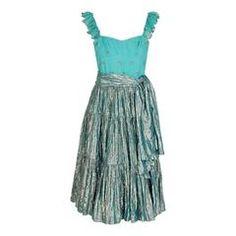 1977 Thea Porter Couture Metallic Blue Embroidered Silk-Lame Peasant Dress Set