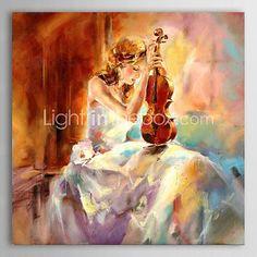 personnes de peinture à l'huile de la jeune fille jouant du violon avec toile peinte à la main sur canevas tendu - EUR €89.99