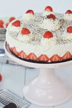Vanille fraisier kwarktaart met oreobodem
