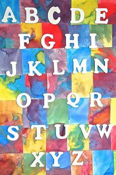 Homemade Watercolor Alphabet Chart from Homegrown Friends Teaching The Alphabet, Alphabet Activities, Literacy Activities, Teaching Kindergarten, Teaching Ideas, Toddler Art, Toddler Crafts, Painting For Kids, Art For Kids