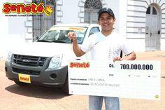 #Tbt Pablo Cabral de la ciudad de Ayolas, se convirtió en el millonario N° 111 habiendo ganado el pozo mayor en el sorteo de aquel 30 de Septiembre del 2012, nada más y nada menos que Gs. 700.000.000 + una camioneta #Isuzu D-max 0km de ese año.   Con #Seneté ¡Un número le cambió todo a Pedro!