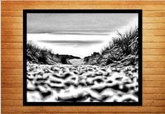 Black and white photo. Printable wall art - long walk to the sandy beach - Made by Gia, $10.00 #blackandwhitephotography #blackandwhitephotos #wallart #homedecor #beachphotography #beachprint #madebygia #made_by_gia