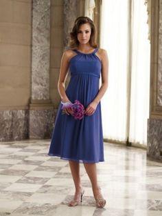 A-Line Halter Tea Length Chiffon Bridesmaid Dress. Blue(: