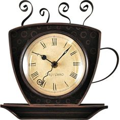 Bronze Coffee Cup Wall Clock (51 CAD) ❤ liked on Polyvore featuring home, home decor, clocks, brown wall clock, battery powered wall clock, antique white wall clock, battery operated wall clocks and battery wall clocks