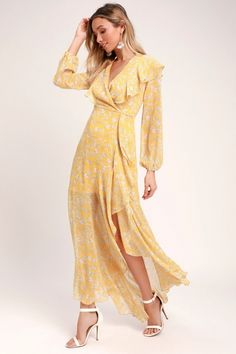 Let the Maybel Yellow Floral Print Ruffled Long Sleeve Maxi Dress add some sunshine to your day! A ruffled maxi skirt ends in a flowy high-low trumpet hem. Yellow Maxi Dress, Cute Maxi Dress, Floral Print Maxi Dress, Maxi Wrap Dress, Maxi Dress With Sleeves, Floral Dresses, New Years Eve Dresses, Dresses For Sale, Surplice Dress
