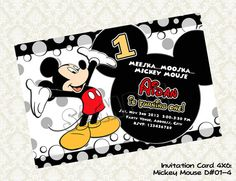 MICKEY MOUSE Invitation  Mickey Mouse by KidsLabelKreations, $8.00