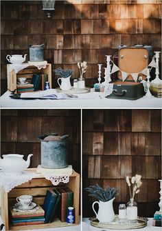Beautiful rustic and vintage details on the CARDS table, milk glass, vintage books, typewriter, crates