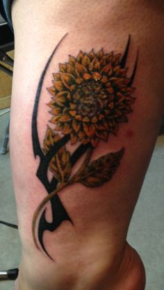 Tattoo coverup - sunflower with tribal