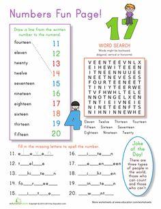 Worksheets: Number Practice 11-20