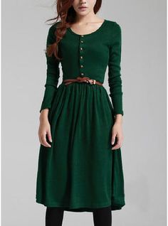 Cheap vestido de coquetel, Buy Quality knitted dress directly from China dress long sleeve Suppliers: 2017 Spring Winter Womens Knitted Dresses Long Sleeve Retro Midi Length Dress Green Black Dress Vestidos vestido de coquetel Pretty Outfits, Pretty Dresses, Cute Outfits, Sweater Outfits, Elegant Dresses, Outfits 2016, Work Outfits, Knit Dress, Dress Skirt