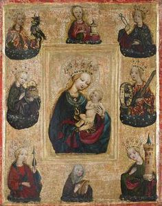 The Madonna and Child/Maria mit Kind, c.1470, by an unknown Bohemian artist; the Virgin and Child are surrounded by saints and their symbolic attributes, among them, Mary Magdalene (ointment pot); Apollonia (pliers); Catherine of Alexandria (wheel and sword); Barbara (tower with three windows); Ursula (arrow). (Kunsthistorisches Museum Vienna)