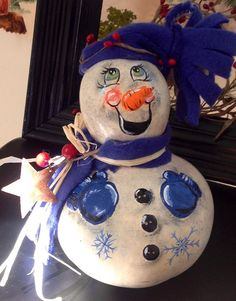 Gourd Snowman in Blues for Winter Decor by BarnsandVines on Etsy