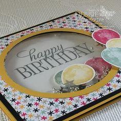 Stampin' Up! Happy Birthday Everyone & Balloon Builders for a Shaker Card. Debbie Henderson, Debbie's Designs.