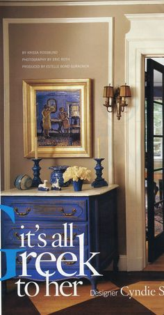 Blue painted chest and vignette - Traditional Home circa 2006
