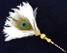 Amazing White and Peacock Feather Fan with Jeweled Wand.