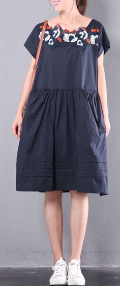 navy baggy loose linen dresses embroidery plus size sundress drawstring short sleeve mid dress