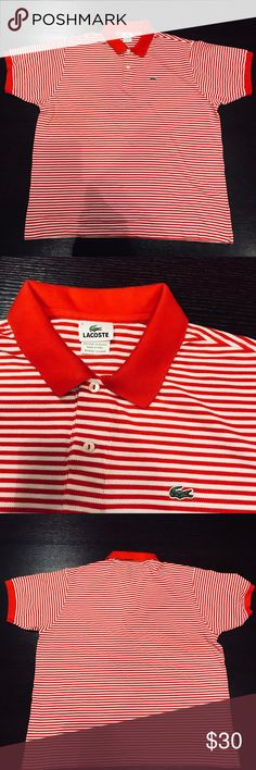 2b53d8df07 Lacoste men polo shirt Lacoste mens polo style shirt , red collar & sleeve  trim with red & white stripes , great shirt no damage Lacoste Shirts Polos