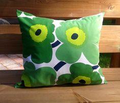 Pillow cover made from Marimekko fabric, pillow case sham, throw pillow, Scandinavian cushion cover, green accent pillow, Unikko  Beautiful pillow