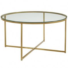 Tyle meets practical with round coffee table. Made with a glass top or faux marble made of high-grade MDF, this table is sure to please on its own or styled with matching side table, while complementing any aesthetic. Round Glass Coffee Table, Brass Coffee Table, Round Table Top, Coffee Table Wayfair, Coffee Table With Storage, Glass Table, A Table, Coffee Tables, Table Frame