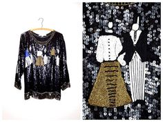 NYE Gatsby Party Sequined Beaded Blouse / New Years by braxae