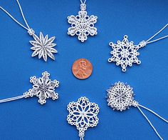 New for 2016: Six Plain, Bright White Miniature Snowflakes – Stunning Stellar Dendrite Snowflakes – Hand Quilled Christmas Tree Ornaments.