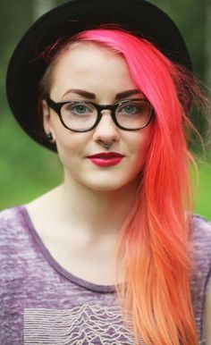 love the pinktangerine ombre hair