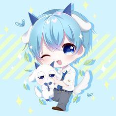 Twitter Chibi Boy, Cute Anime Chibi, Anime Neko, Cute Anime Boy, Kawaii Anime Girl, Anime Guys, Anime Art, Anime Wolf Girl, Anime Child